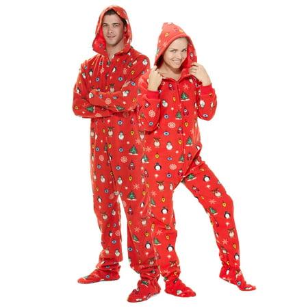 Footed Pajamas - Footed Pajamas - Holly Jolly Christmas Adult Hoodie ... 8e01b6ae1