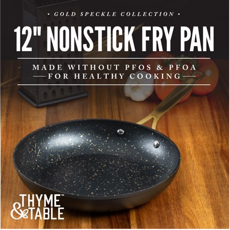 """Thyme & Table Non-Stick 12"""" Gold Fry Pan with Stainless Steel Induction Base"""