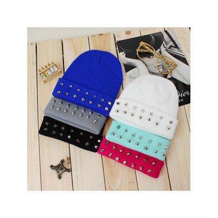 Meigar Women Winter Warm Knit Wool Beanie Cap Studded Punk Rivet Hat