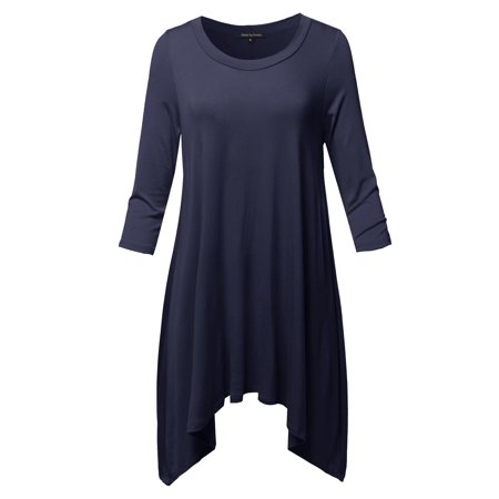 595f62f3fa1 FashionOutfit - FashionOutfit Women's Solid 3/4 Sleeve Loose Fit Swing  Tunic Top - Walmart.com
