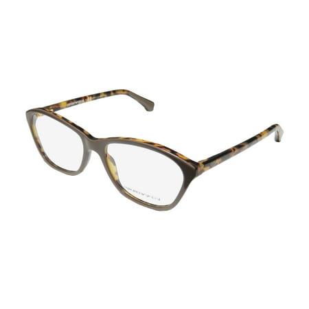 New Emporio Armani 3040 Womens/Ladies Cat Eye Full-Rim Brown / Havana Frame Demo Lenses 53-16-140 Spring Hinges Eyeglasses/Eyewear