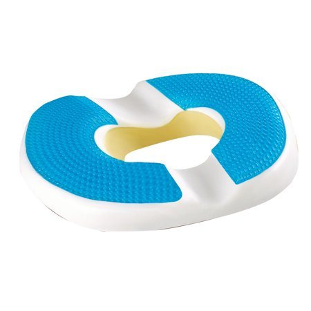 Specially Designed Gel Donut Shaped Chair Cushion - Keeps Pressure Off Tailbone, Stop Pain From Coccyx Injuries, Hemorrhoids - Premium Memory Foam, Cooling Gel, Superior Support Pressure Reduction Cushion