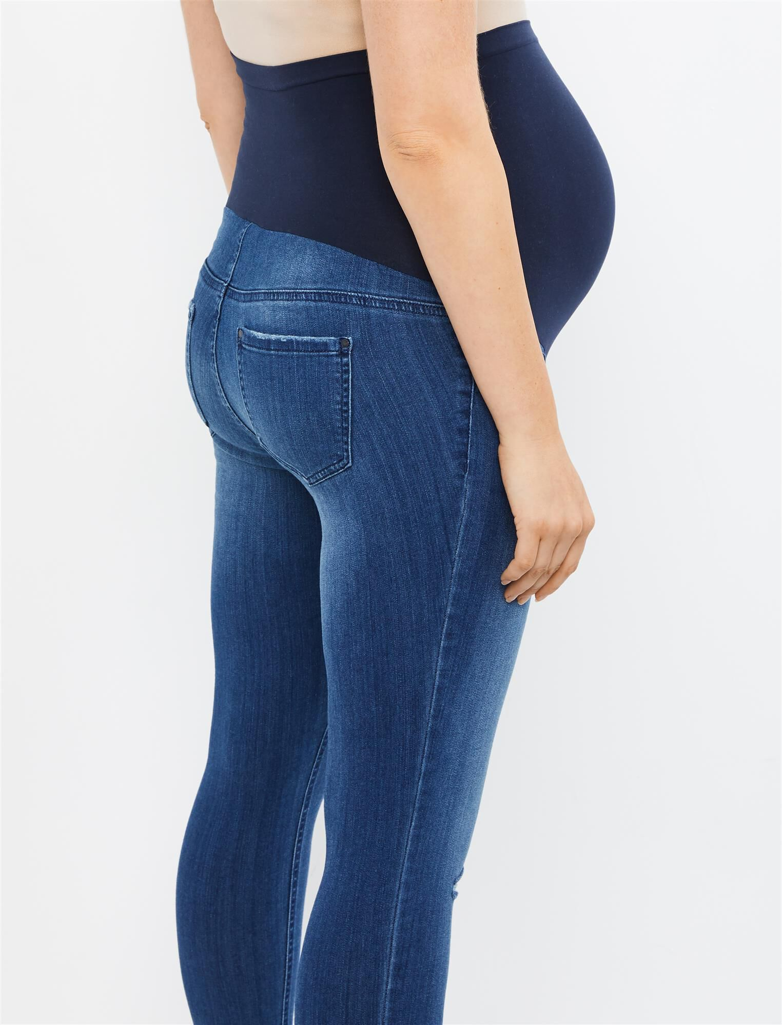 Motherhood Maternity Womens Maternity Indigo Blue Stretch Secret Fit Belly Ankle Denim Jegging