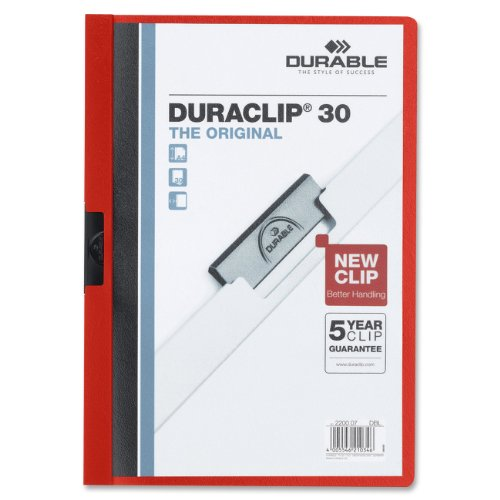 "Durable Duraclip Report Cover - Letter - 8.5"" X 11"" - 30 Sheet - 1 Each - Red, Clear (2203RD)"
