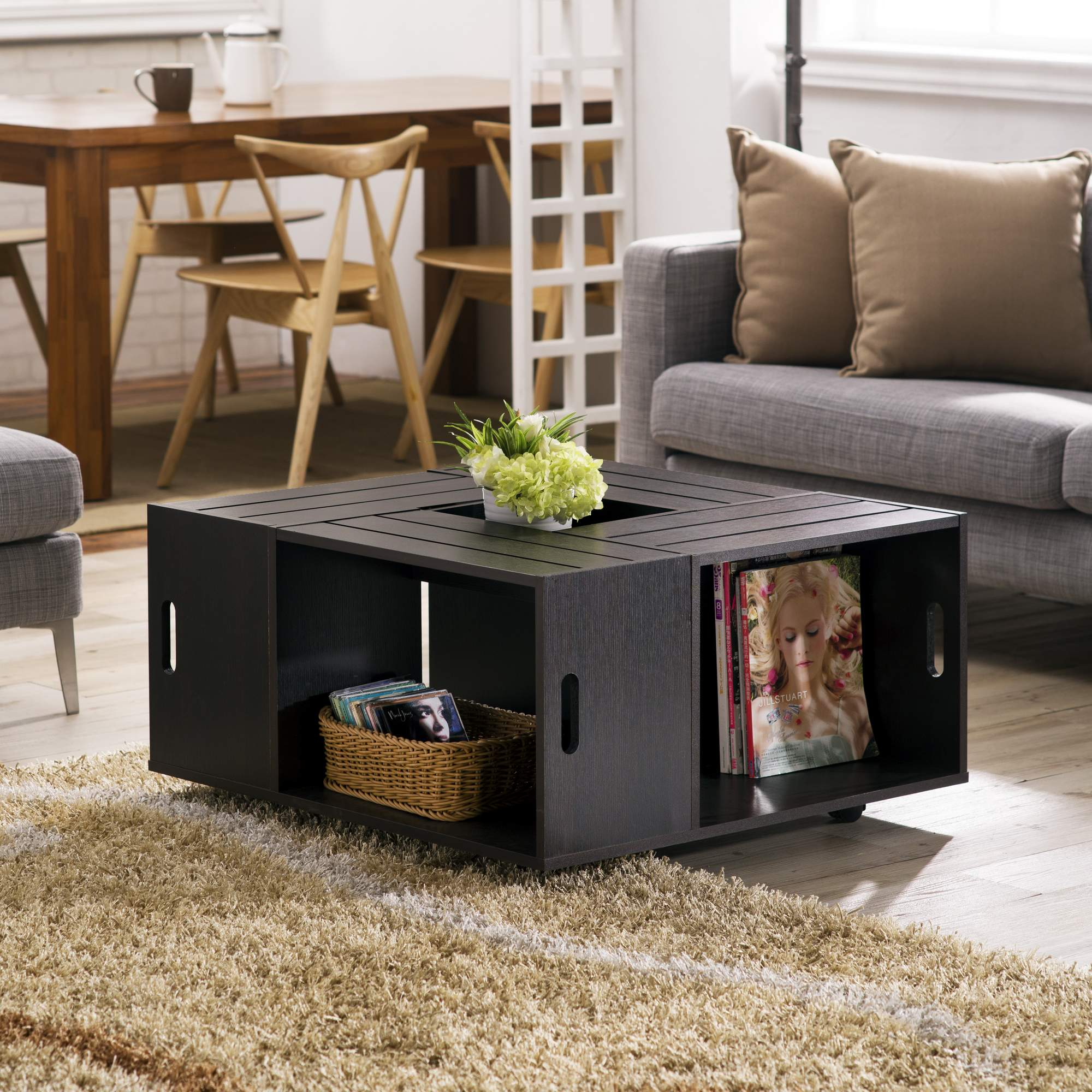 Healing 14.56 x 15.74 inches Small leather coffee table from Niger