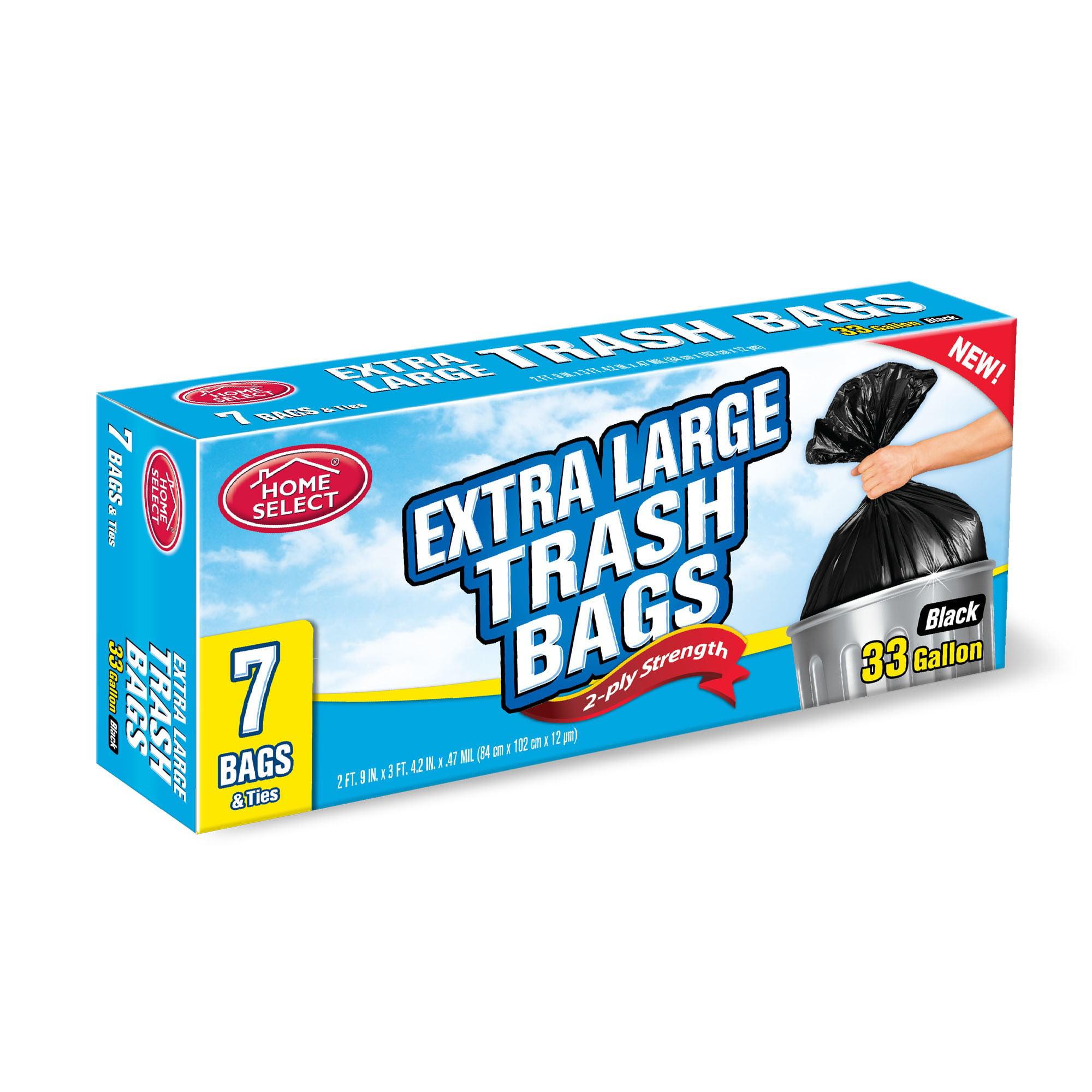 Home Select Trash Bags, 33 gallon, Black, 7 Ct - Walmart.com