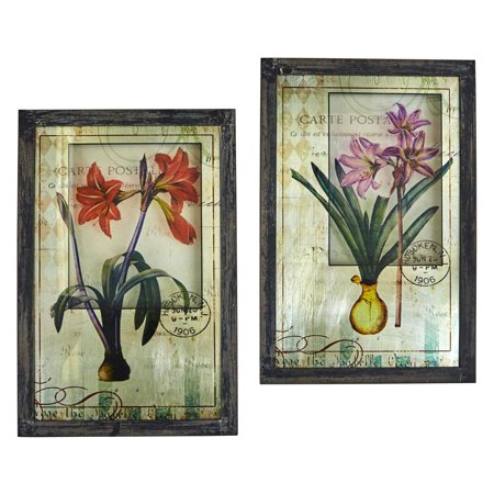 Nearly Natural Framed French Floral Art Print - Set of 2