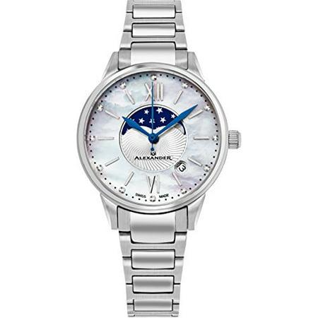 Alexander Monarch Vassilis Moon Phase MOP Women Swiss Quartz SS Watch A204B-01 Chronograph Moon Phase Watch