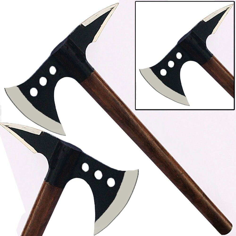 Spiked Medieval Axe Steel Viking Replica Battle Hatchet Triple Hole by Knife World