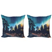 Fantasy Throw Pillow Cushion Cover Pack of 2, Enchanted Night with Stars and Aurora Borealis in Sky Above Mystic Road, Zippered Double-Side Digital Print, 4 Sizes, Multicolor, by Ambesonne
