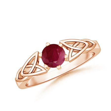 - July Birthstone Ring - Solitaire Round Ruby Celtic Knot Ring in 14K Rose Gold (5mm Ruby) - SR0652R-RG-A-5-6.5
