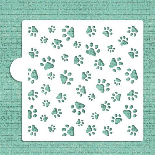Designer StencilsMini Dog Paws Allover Cookie and Craft Stencil CM007