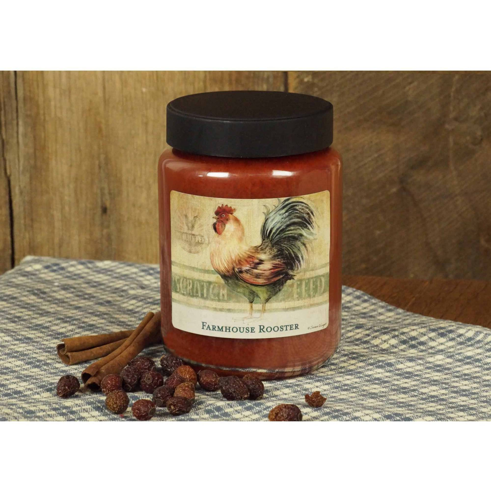 LANG Farmhouse Rooster 26-Ounce Jar Candle, Scented with Buttered Maple Syrup, Pumpkin Spice and Orange Clove