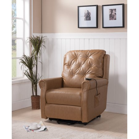 Taupe Faux Leather Tufted Electric Power Lift Recliner Armchair ...