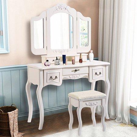new product c9942 92e2d Zimtown Tri Folding White Vanity Makeup Dressing Table Set w/Stool 5 Drawer  & Mirror Wood Desk,White