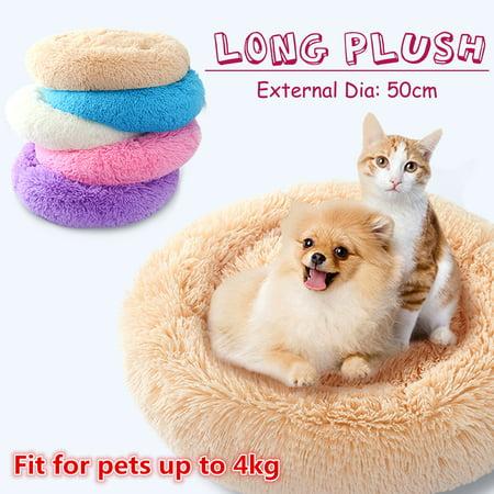 Cuddle Round Pet Bed Long Plush Soft Mattress Sleeping Nest Warming Ho