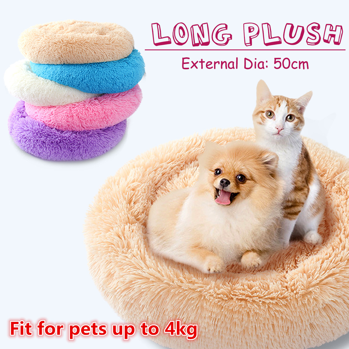 Cuddle Round Pet Bed Long Plush Soft Mattress Sleeping Nest Warming House Pet Cushion for Dog Puppy Cat - Small