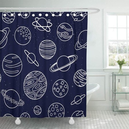 ATABIE Cartoon Blue Outline Space Planets Pattern Alien Cosmic Cosmo Shower Curtain 66x72 inch