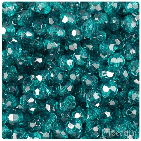 BeadTin Catans Teal Transparent 8mm Faceted Round Craft Beads (450pcs)