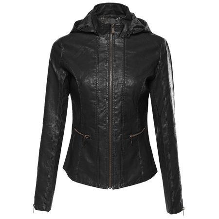 - FashionOutfit Women's Bike Rider Moto Leather Jacket with Detachable Hood