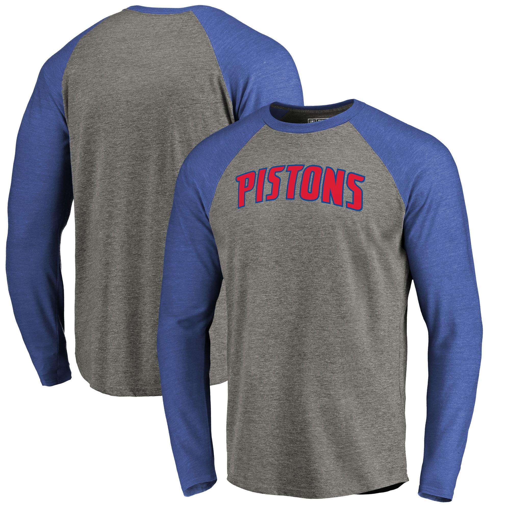 Detroit Pistons Fanatics Branded Primary Wordmark Tri-Blend Long Sleeve T-Shirt - Heathered Gray