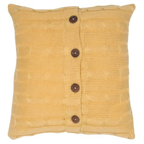 Rizzy Home Sweater Fabric with Wooden Button Closure Decorative Throw Pillow