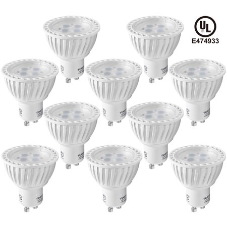 TORCHSTAR 10 Pack MR16 GU10 LED Light Bulbs, 5W Light Bulbs, Non-Dimmable LED Recessed Lighting, LED Track Lighting, 2700K Soft
