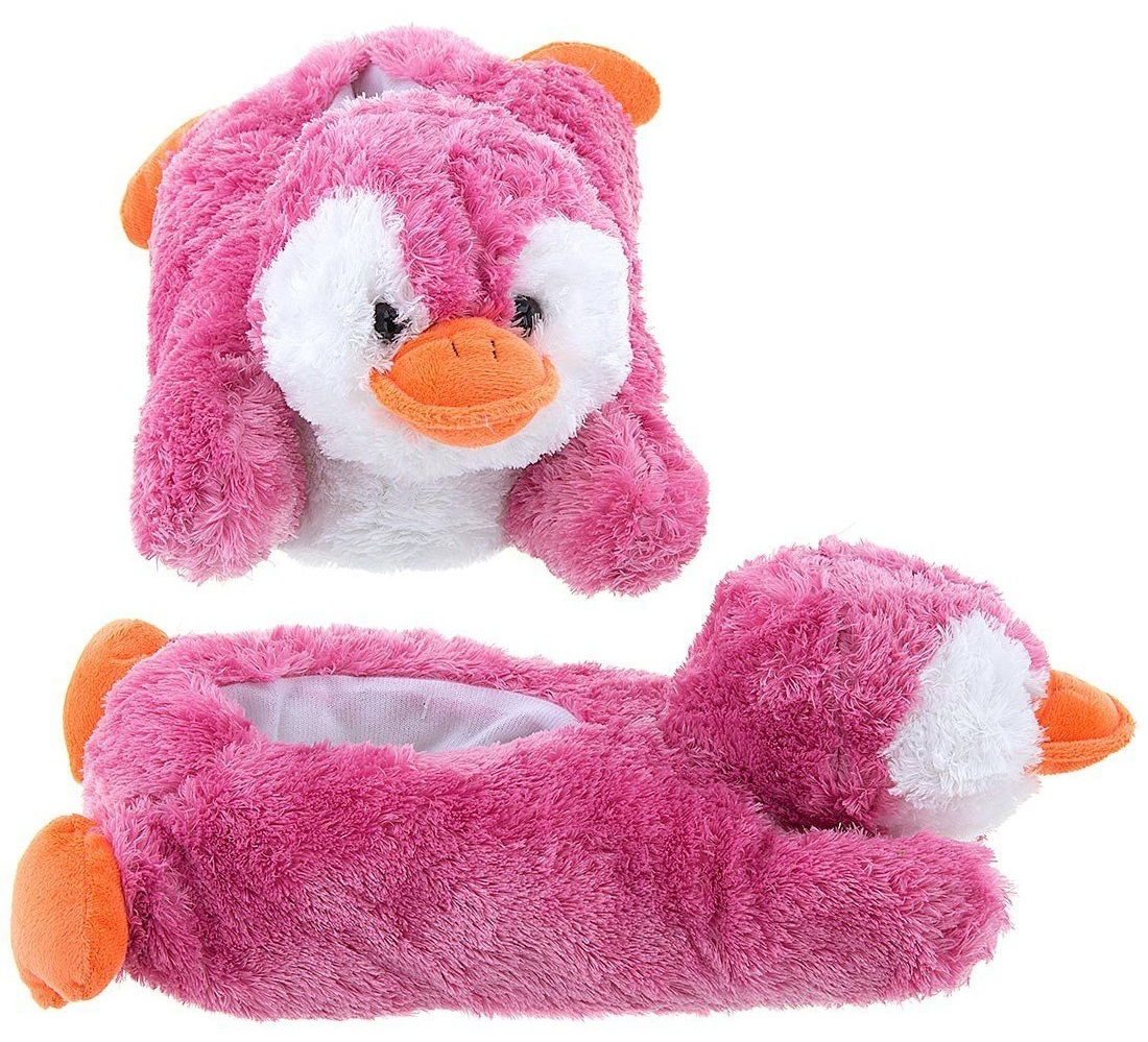 Wishpets Adult Children Size Pink Penguin Animal Soft Plush Fuzzy Furry Slippers