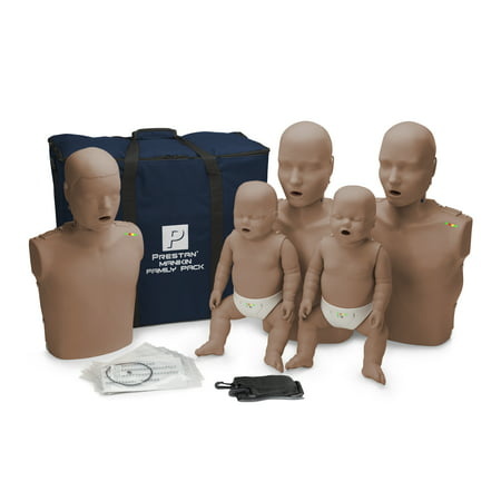 Prestan Family Pack including 2 Adult Manikins, 1 Child Manikin and 2 Infant Manikins with CPR Monitors and Dark Skin Tone PP-FM-500M-DS Economy Adult Sani Manikin