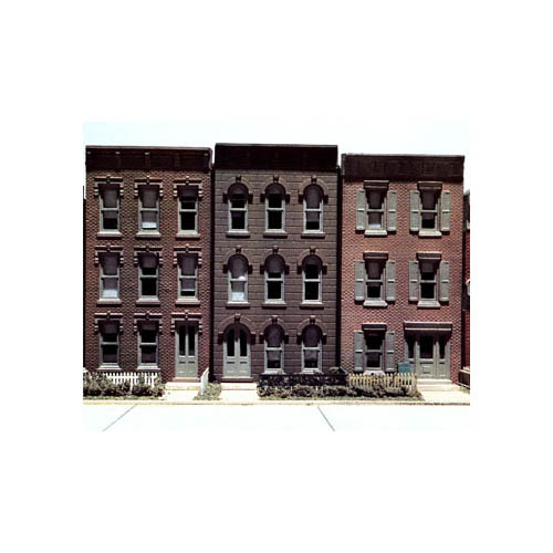 WOO11400 Townhouse Flats/3 Fronts Kit HO Multi-Colored