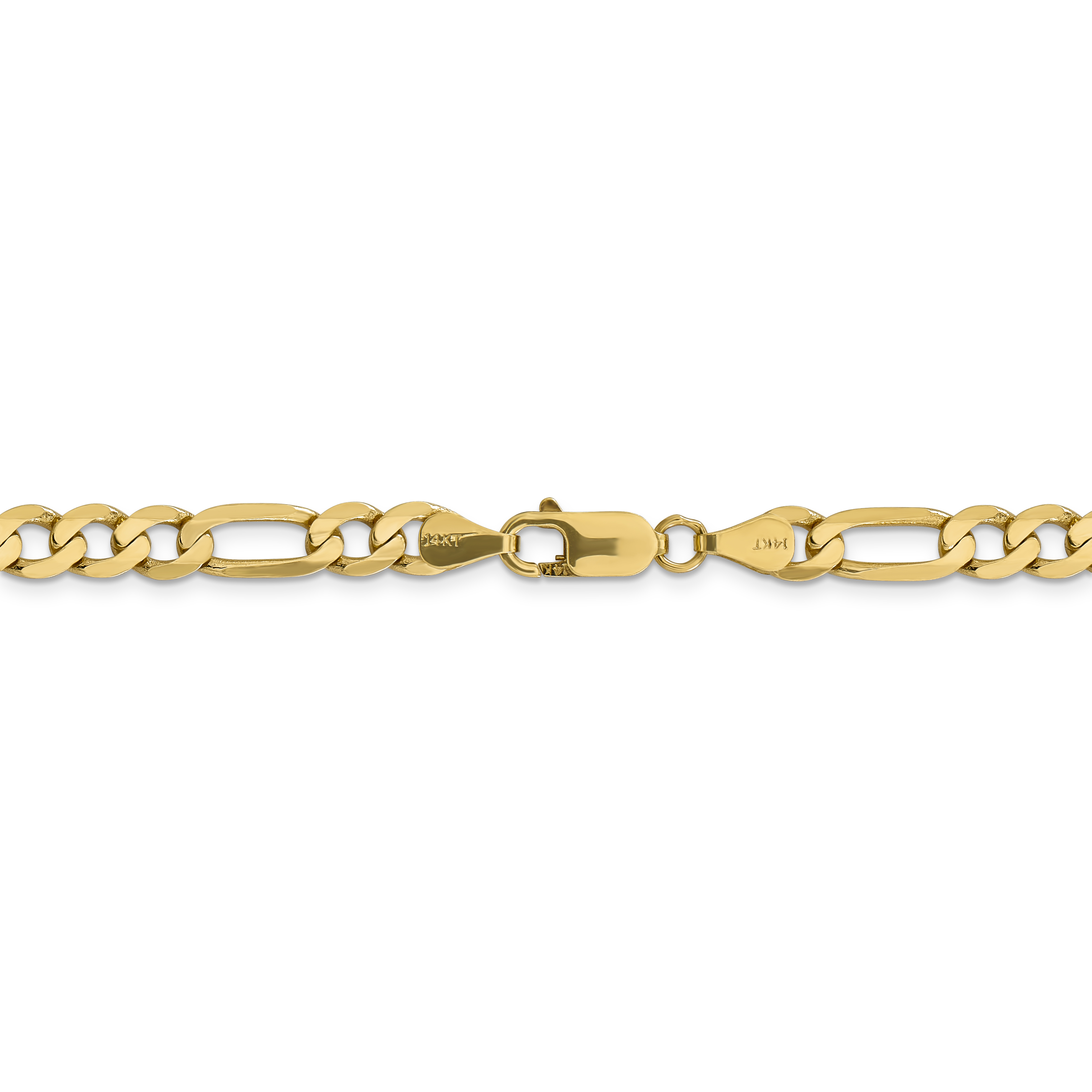 14k Yellow Gold 6.25mm Flat Link Figaro Chain Necklace 24 Inch Pendant Charm Fine Jewelry Gifts For Women For Her - image 3 de 5