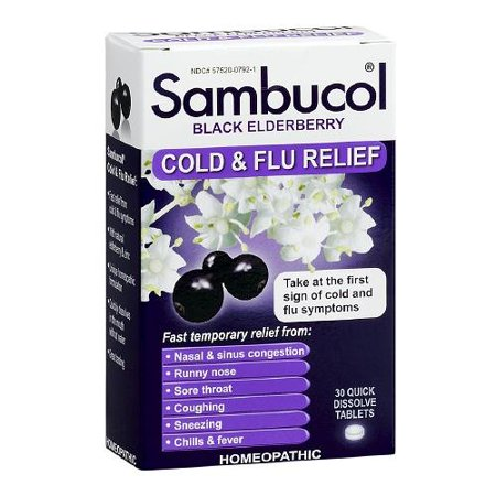 3 Pack Sambucol Black Elderberry Cold & Flu Relief Homeopathic 30 Tablets Each