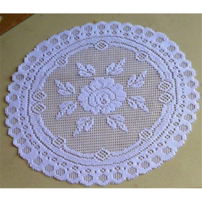 Tapestry Trading 652W8 8 in. European Lace Doily, White