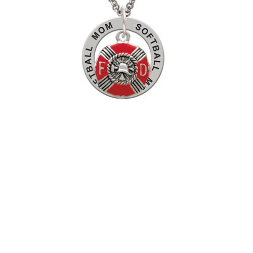 Red Enamel Fire Department Medallion Softball Mom Affirmation Ring Necklace