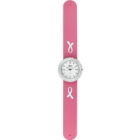 tko orlogi women's tk613wpk breast cancer crystalized slap watch w/ extra band (Cancer Awareness Pink Ribbon Watch)
