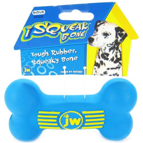 "JW Pet iSqueak Tough Rubber Squeaky Bone for Dogs Medium - 5.5"" Long - (Assorted Colors)"