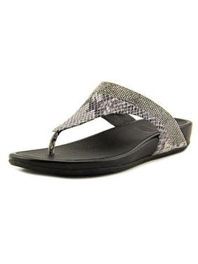 FitFlop Banda Women  Open Toe Leather Silver Thong Sandal