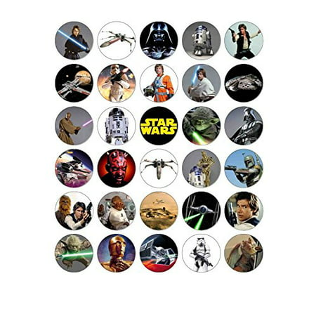 STAR WARS Edible Frosting Image Cupcake Cake Toppers 30 ct* ()