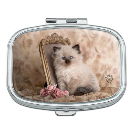 Ragdoll Tiffany Cat Kitten Victorian Roses Rectangle Pill Case Trinket Gift Box