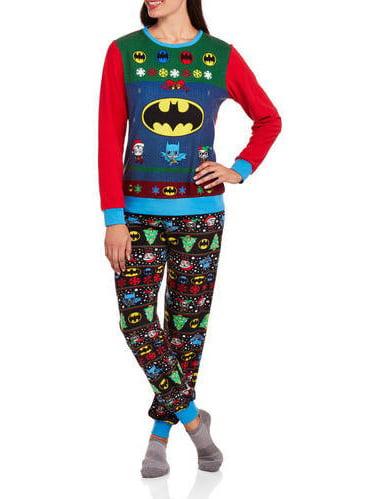 Womens Fleece Batgirl Ugly Sweater Pajamas Batman Holiday Sleep Set