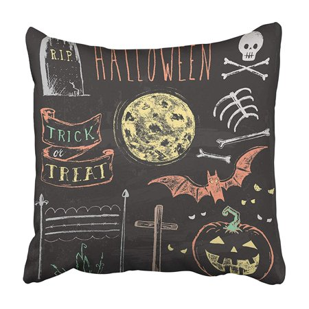 CMFUN Pumpkin Vintage Chalkboard Halloween Spooky Chalk to Embellish Your Skeleton Moon Pillowcase 20x20 inch](Halloween Vintage Pics)