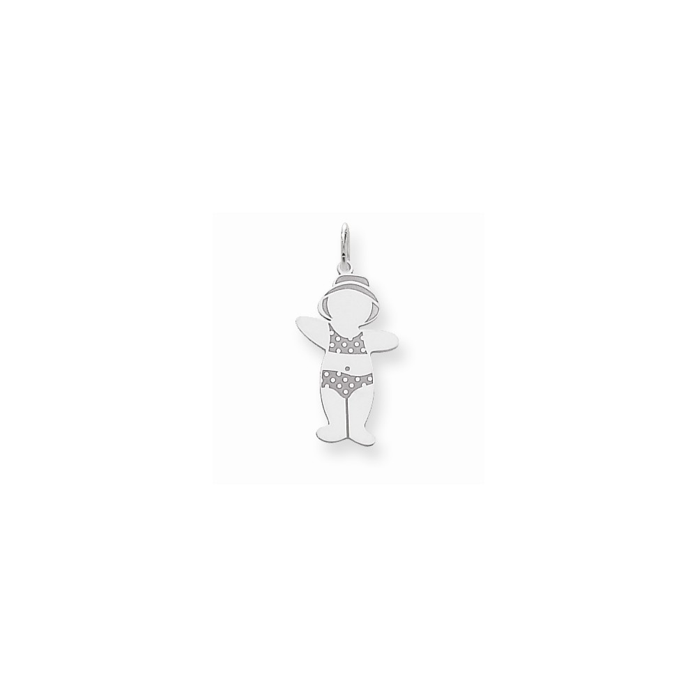 14k White Gold Cuddle Charm (1.1in long x 0.5in wide)