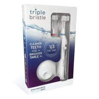 Triple Bristle Best Sonic Rechargeable Electric Toothbrush with Patented 3 Brush Head Design