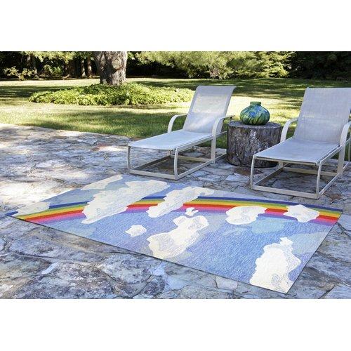 Harriet Bee Broderick Rainbow and Clouds Hand-Tufted Multicolor Indoor/Outdoor Area Rug
