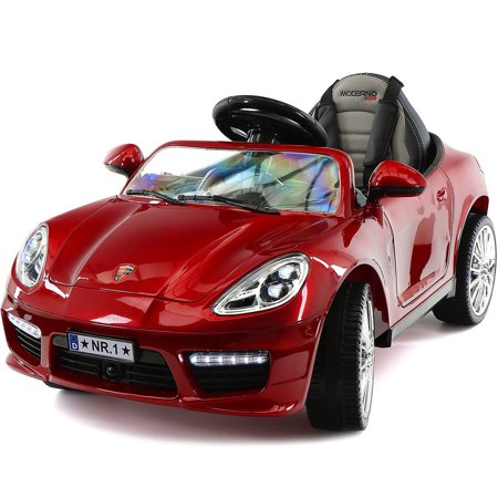 Electric Cherry (2018 Porshe Bokster Style Kids Electric Ride-On Car 12V Battery | Cherry Red Metallic )