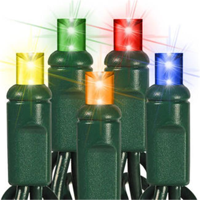 Queens of Christmas S-50MM5M-6G Multicolor M5 LED Lights with 6 inch Spacing and Green Wire