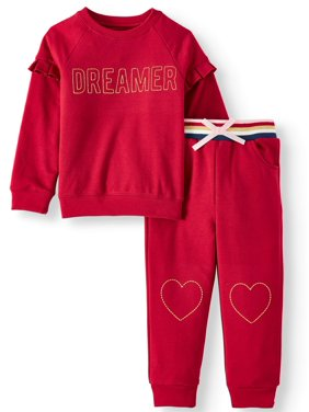 Wonder Nation Ruffle Fleece Top and Jogger Pants, 2pc Outfit Set (Toddler Girls)