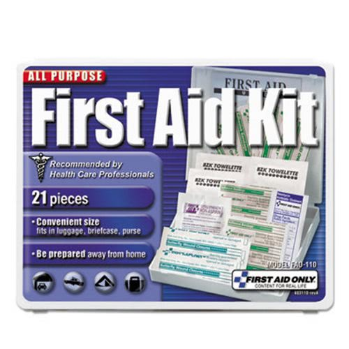 First Aid Only All-Purpose First Aid Kit, 21 Pieces, Blue/White (FAO110)