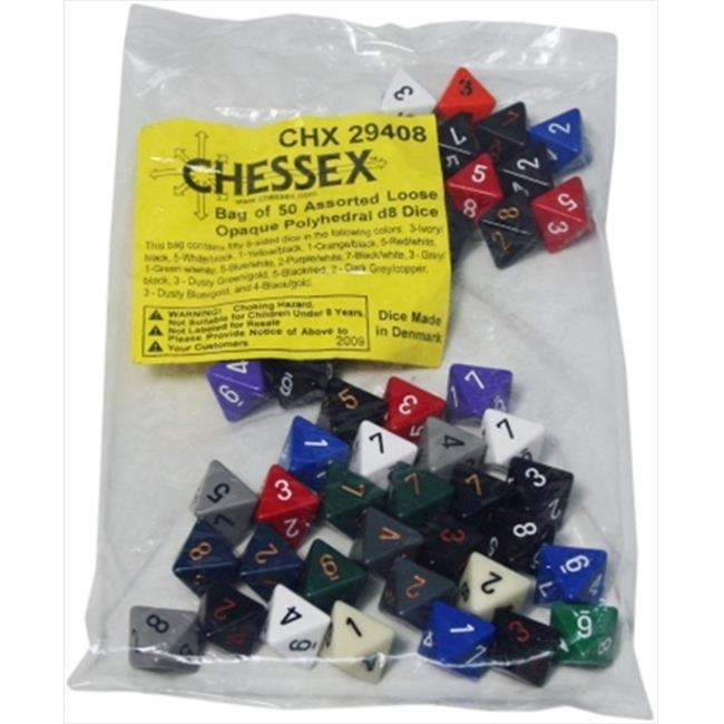 Chessex Manufacturing 29408 Opaque D8 Poly Assorted Bagged Dice, Bag - 50