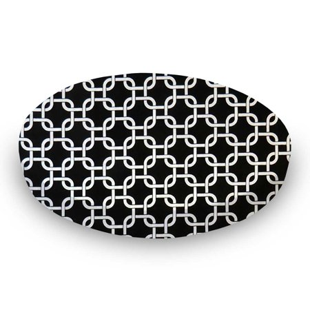SheetWorld Fitted 100% Cotton Percale Oval Crib Sheet, Fits Stokke Sleepi 26 x 47, Black Links